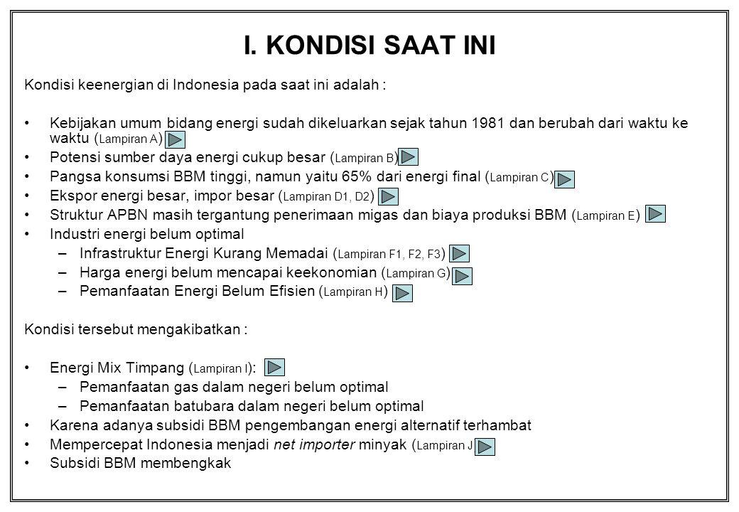 I. KONDISI SAAT INI Kondisi keenergian di Indonesia pada saat ini adalah : Kebijakan umum bidang energi sudah dikeluarkan sejak tahun 1981 dan berubah