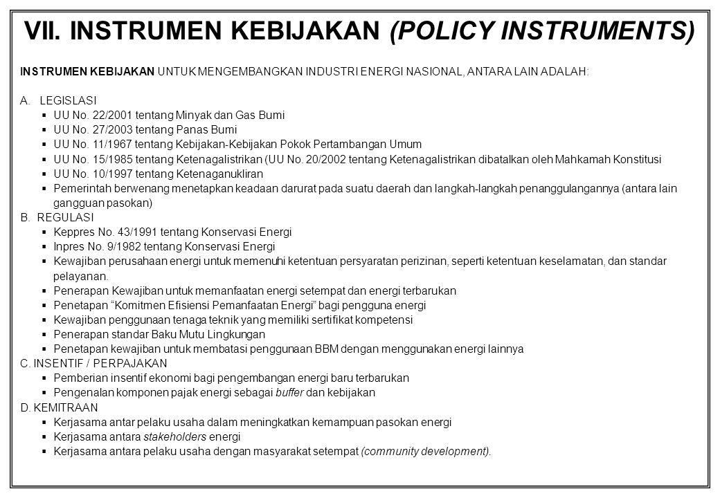 INSTRUMEN KEBIJAKAN UNTUK MENGEMBANGKAN INDUSTRI ENERGI NASIONAL, ANTARA LAIN ADALAH: A. LEGISLASI  UU No. 22/2001 tentang Minyak dan Gas Bumi  UU N