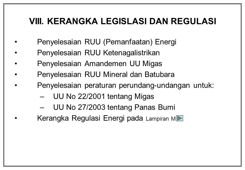 VIII. KERANGKA LEGISLASI DAN REGULASI Penyelesaian RUU (Pemanfaatan) Energi Penyelesaian RUU Ketenagalistrikan Penyelesaian Amandemen UU Migas Penyele