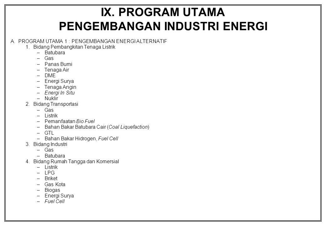 IX. PROGRAM UTAMA PENGEMBANGAN INDUSTRI ENERGI A.PROGRAM UTAMA 1 : PENGEMBANGAN ENERGI ALTERNATIF 1.Bidang Pembangkitan Tenaga Listrik –Batubara –Gas