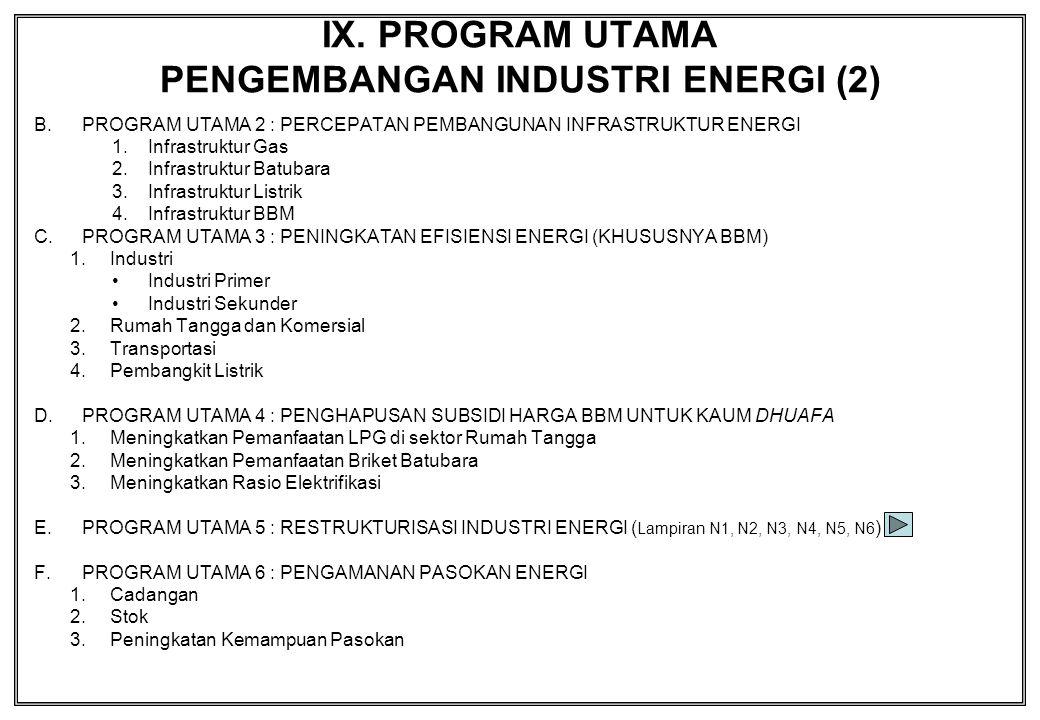 IX. PROGRAM UTAMA PENGEMBANGAN INDUSTRI ENERGI (2) B.PROGRAM UTAMA 2 : PERCEPATAN PEMBANGUNAN INFRASTRUKTUR ENERGI 1.Infrastruktur Gas 2.Infrastruktur