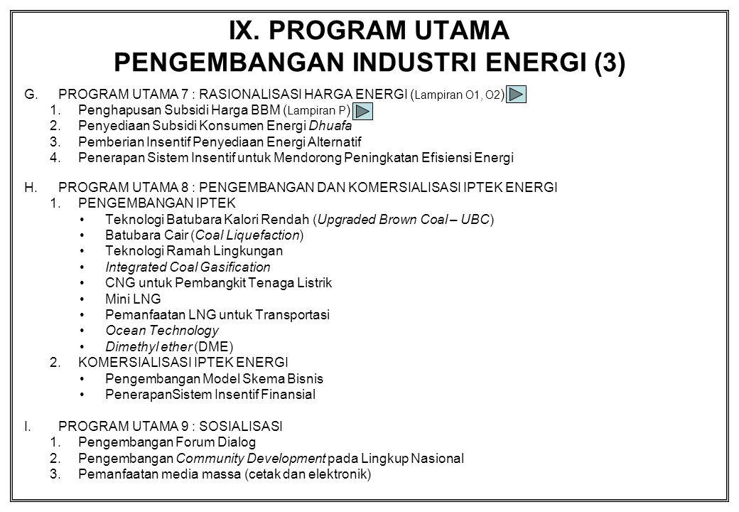 IX. PROGRAM UTAMA PENGEMBANGAN INDUSTRI ENERGI (3) G.PROGRAM UTAMA 7 : RASIONALISASI HARGA ENERGI ( Lampiran O1, O2 ) 1.Penghapusan Subsidi Harga BBM