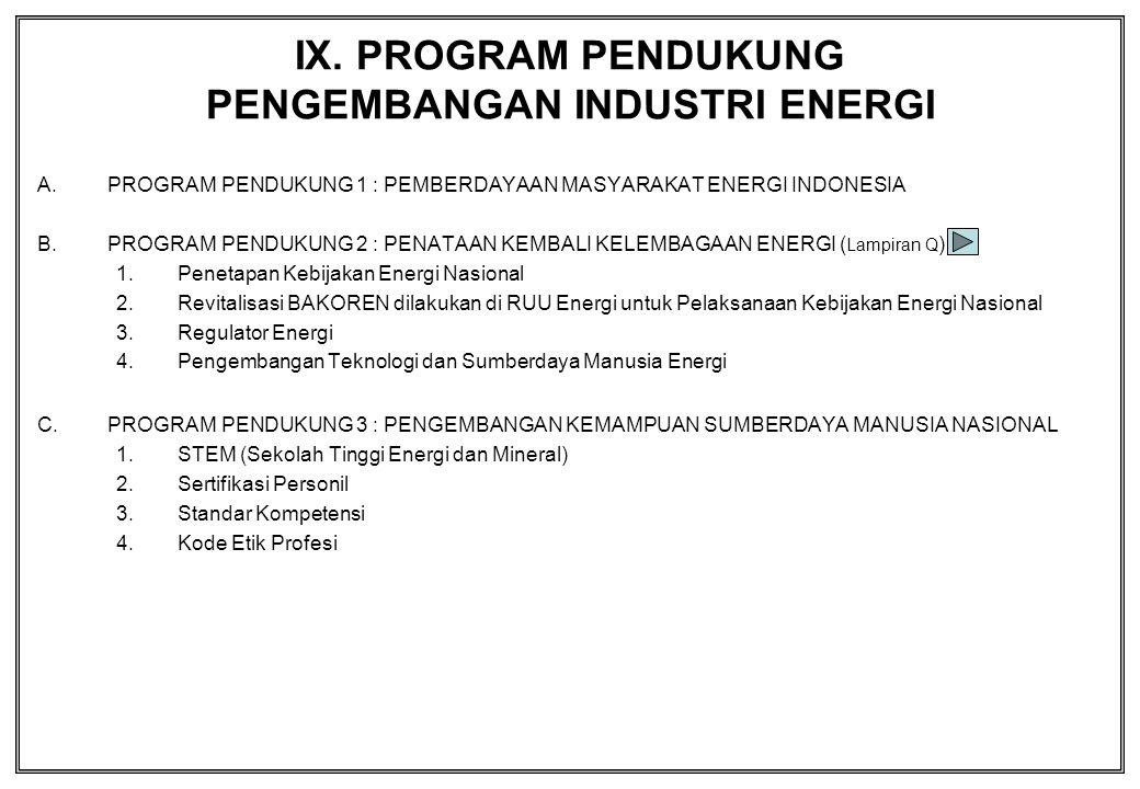 IX. PROGRAM PENDUKUNG PENGEMBANGAN INDUSTRI ENERGI A.PROGRAM PENDUKUNG 1 : PEMBERDAYAAN MASYARAKAT ENERGI INDONESIA B.PROGRAM PENDUKUNG 2 : PENATAAN K