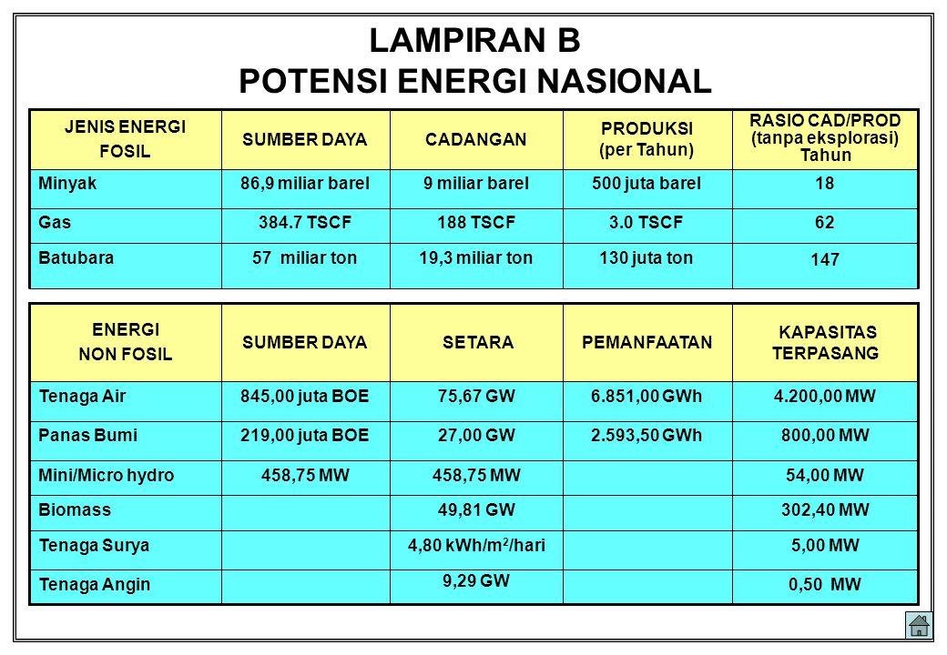 5,00 MW4,80 kWh/m 2 /hariTenaga Surya 302,40 MW49,81 GWBiomass 4.200,00 MW6.851,00 GWh75,67 GW845,00 juta BOETenaga Air 800,00 MW2.593,50 GWh27,00 GW2