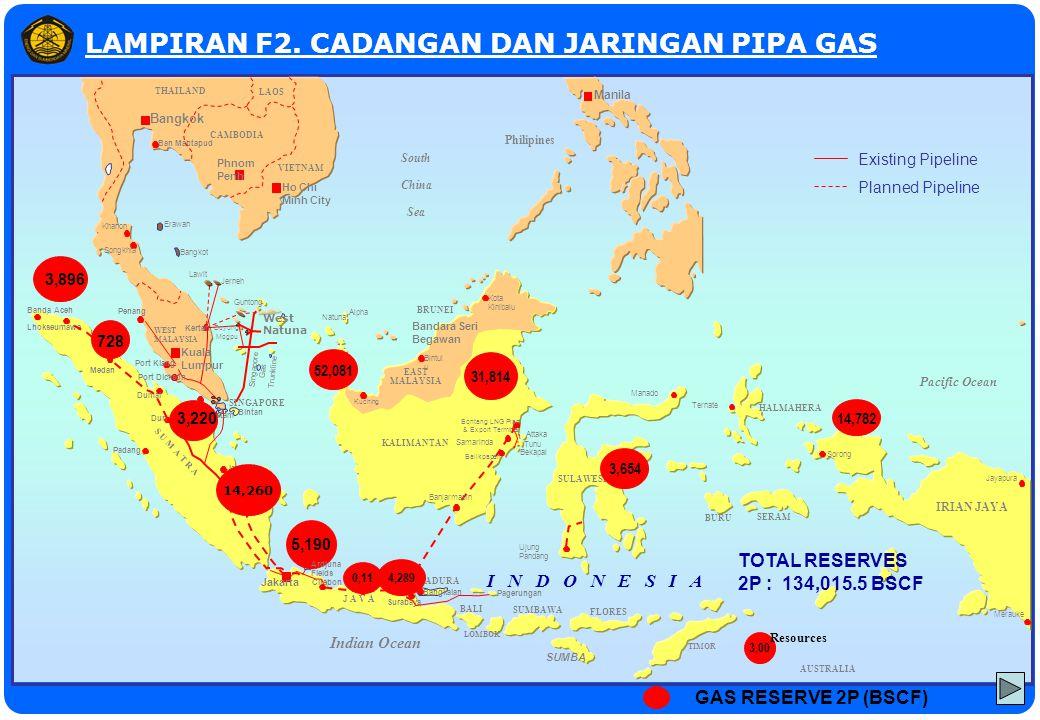 Grissik Palembang Semarang LAMPIRAN FLAMPIRAN F2. CADANGAN DAN JARINGAN PIPA GAS Pacific Ocean AUSTRALIA Indian Ocean Bangkok Phnom Penh Ban Mabtapud