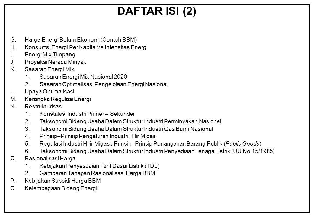 DAFTAR ISI (2) G.Harga Energi Belum Ekonomi (Contoh BBM) H.Konsumsi Energi Per Kapita Vs Intensitas Energi I.Energi Mix Timpang J.Proyeksi Neraca Miny
