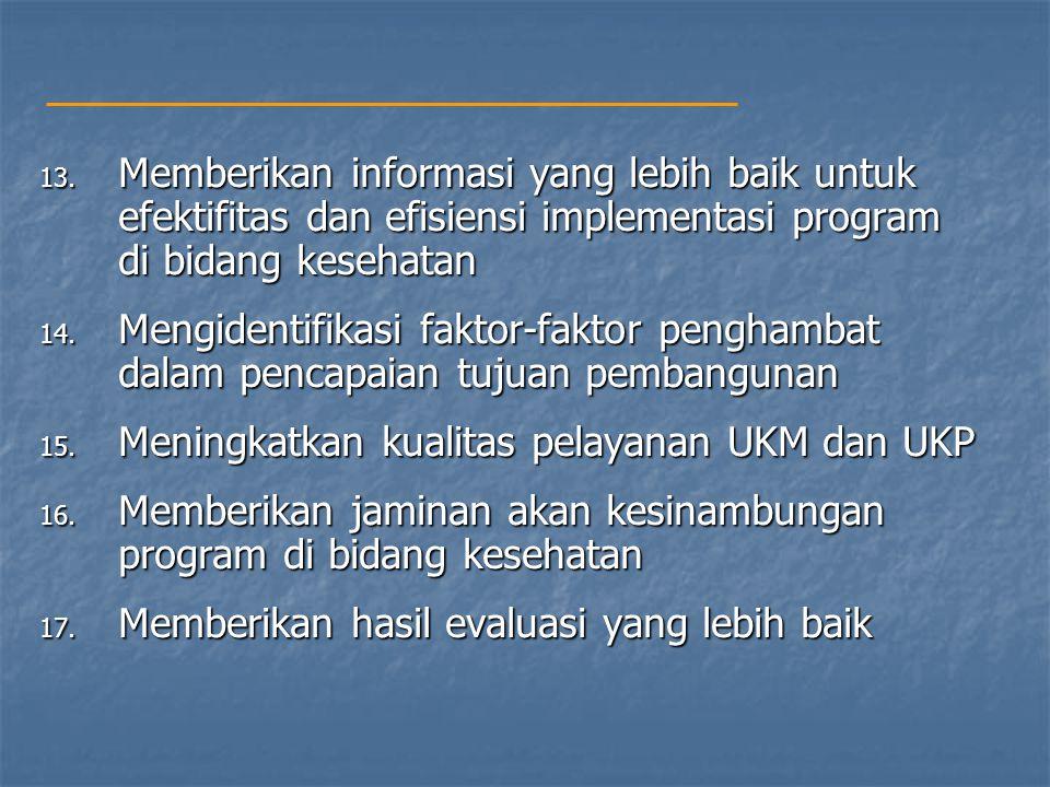 13. Memberikan informasi yang lebih baik untuk efektifitas dan efisiensi implementasi program di bidang kesehatan 14. Mengidentifikasi faktor-faktor p