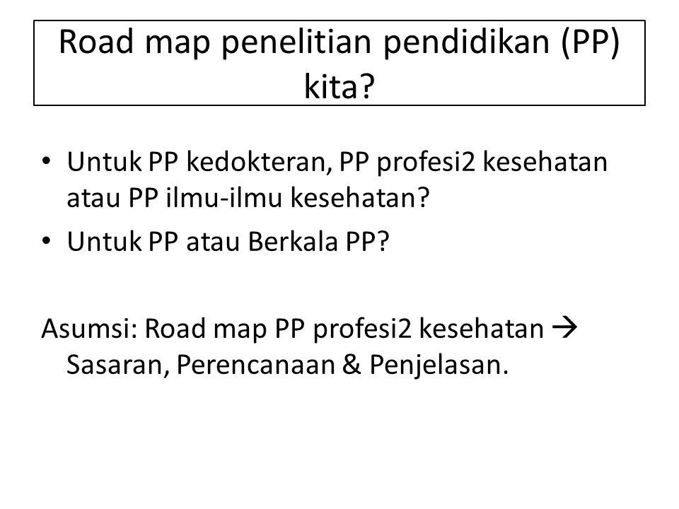 Road map penelitian pendidikan (PP) kita? Untuk PP kedokteran, PP profesi2 kesehatan atau PP ilmu-ilmu kesehatan? Untuk PP atau Berkala PP? Asumsi: Ro