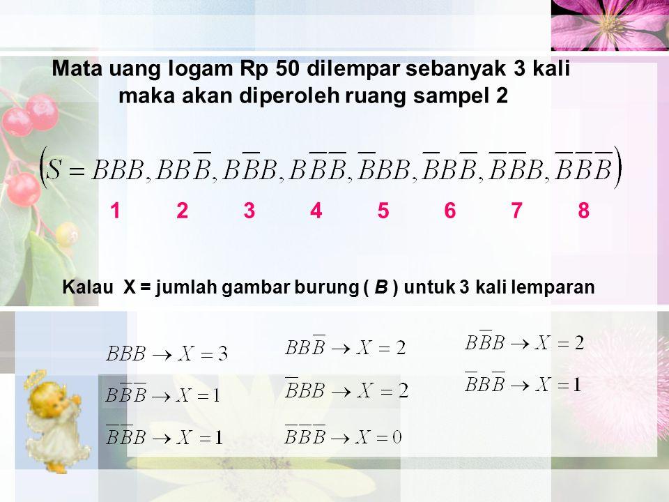 Mata uang logam Rp 50 dilempar sebanyak 3 kali maka akan diperoleh ruang sampel 2 1234567812345678 Kalau X = jumlah gambar burung ( B ) untuk 3 kali l