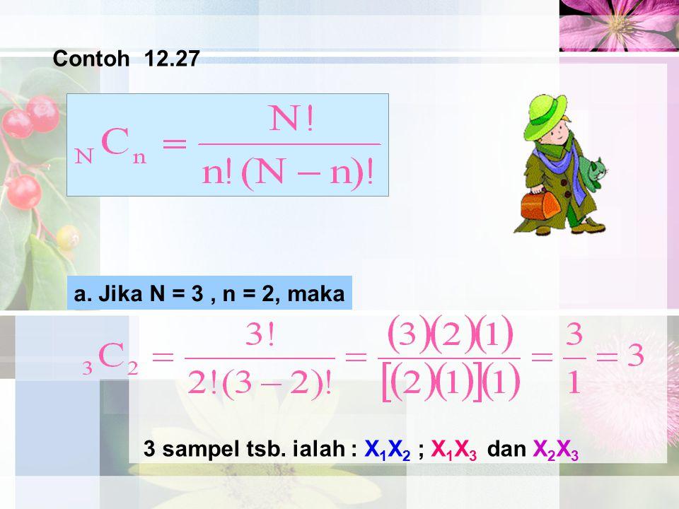Contoh 12.27 a. Jika N = 3, n = 2, maka 3 sampel tsb. ialah : X 1 X 2 ; X 1 X 3 dan X 2 X 3