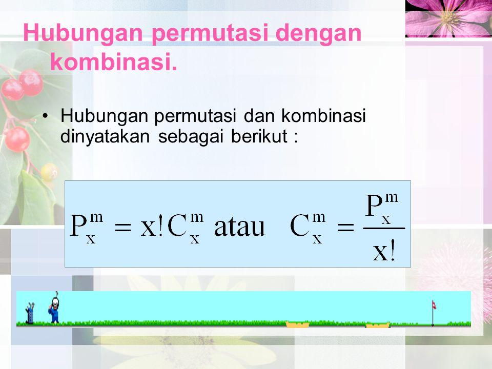 Hubungan permutasi dengan kombinasi. Hubungan permutasi dan kombinasi dinyatakan sebagai berikut :