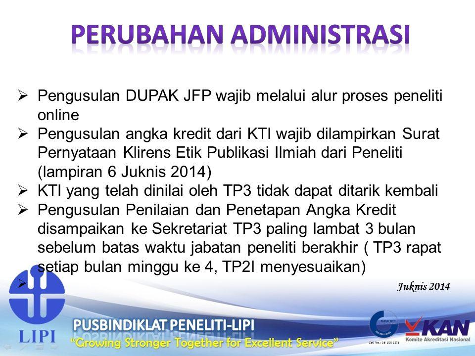  Pengusulan DUPAK JFP wajib melalui alur proses peneliti online  Pengusulan angka kredit dari KTI wajib dilampirkan Surat Pernyataan Klirens Etik Pu