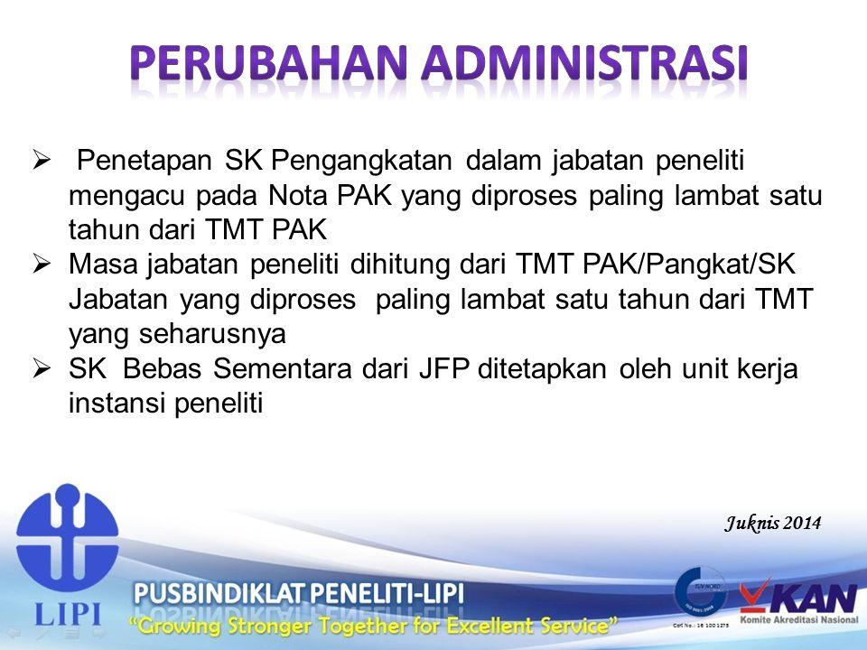  Penetapan SK Pengangkatan dalam jabatan peneliti mengacu pada Nota PAK yang diproses paling lambat satu tahun dari TMT PAK  Masa jabatan peneliti d