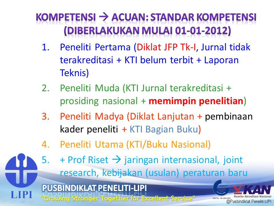 1.Peneliti Pertama (Diklat JFP Tk-I, Jurnal tidak terakreditasi + KTI belum terbit + Laporan Teknis) 2.Peneliti Muda (KTI Jurnal terakreditasi + prosi