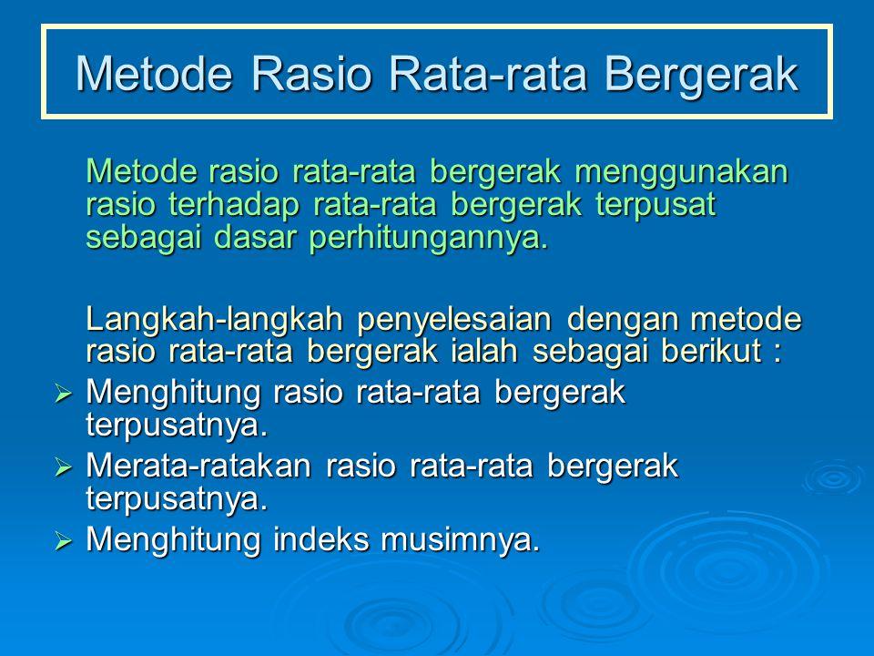 Metode Rasio Rata-rata Bergerak Metode rasio rata-rata bergerak menggunakan rasio terhadap rata-rata bergerak terpusat sebagai dasar perhitungannya. L