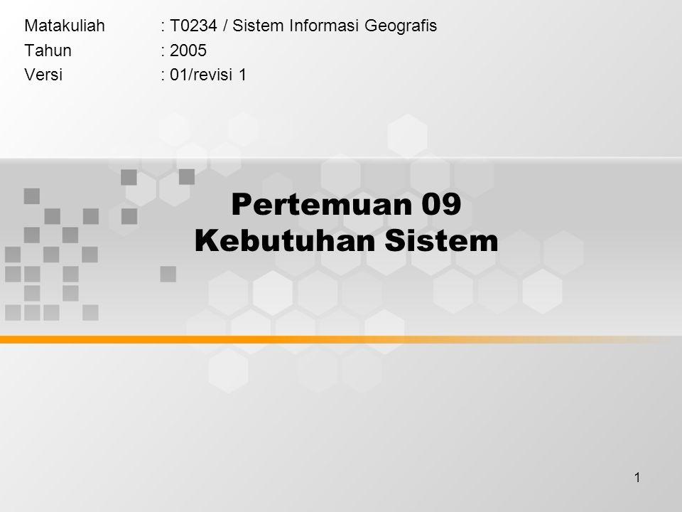 1 Pertemuan 09 Kebutuhan Sistem Matakuliah: T0234 / Sistem Informasi Geografis Tahun: 2005 Versi: 01/revisi 1