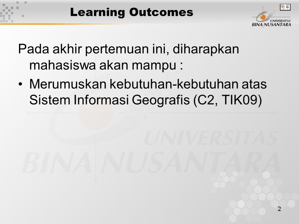 2 Learning Outcomes Pada akhir pertemuan ini, diharapkan mahasiswa akan mampu : Merumuskan kebutuhan-kebutuhan atas Sistem Informasi Geografis (C2, TIK09)