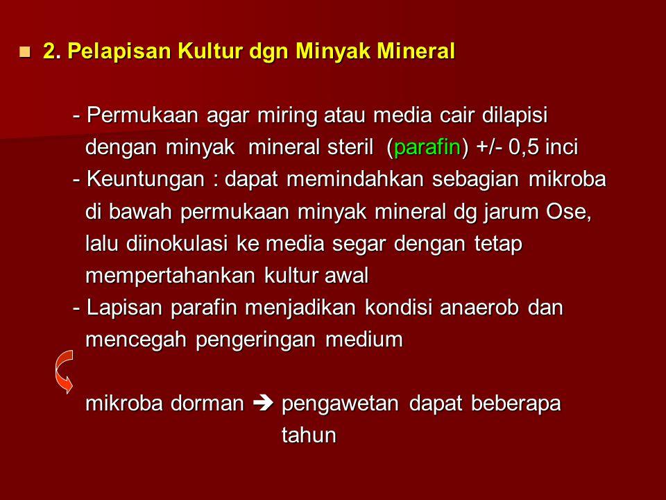 2. Pelapisan Kultur dgn Minyak Mineral 2. Pelapisan Kultur dgn Minyak Mineral - Permukaan agar miring atau media cair dilapisi - Permukaan agar miring