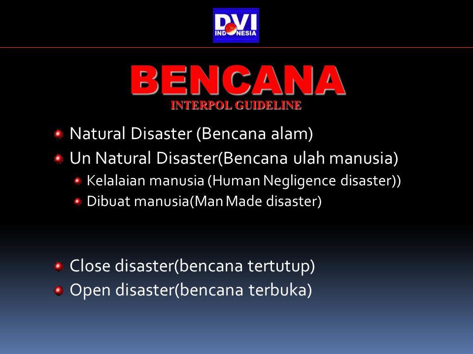 Natural Disaster (Bencana alam) Un Natural Disaster(Bencana ulah manusia) Kelalaian manusia (Human Negligence disaster)) Dibuat manusia(Man Made disaster) Close disaster(bencana tertutup) Open disaster(bencana terbuka) BENCANA INTERPOL GUIDELINE