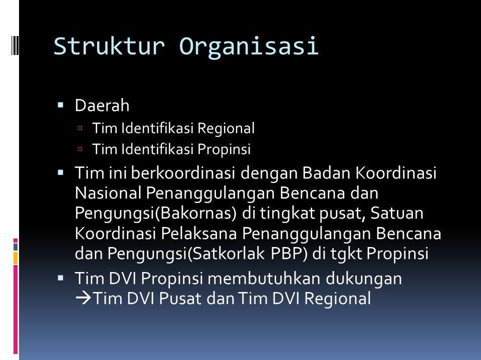 Struktur Organisasi  Daerah  Tim Identifikasi Regional  Tim Identifikasi Propinsi  Tim ini berkoordinasi dengan Badan Koordinasi Nasional Penanggulangan Bencana dan Pengungsi(Bakornas) di tingkat pusat, Satuan Koordinasi Pelaksana Penanggulangan Bencana dan Pengungsi(Satkorlak PBP) di tgkt Propinsi  Tim DVI Propinsi membutuhkan dukungan  Tim DVI Pusat dan Tim DVI Regional