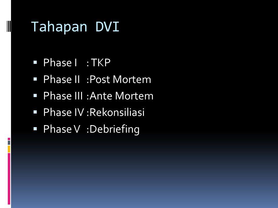 Tahapan DVI  Phase I: TKP  Phase II:Post Mortem  Phase III:Ante Mortem  Phase IV:Rekonsiliasi  Phase V:Debriefing