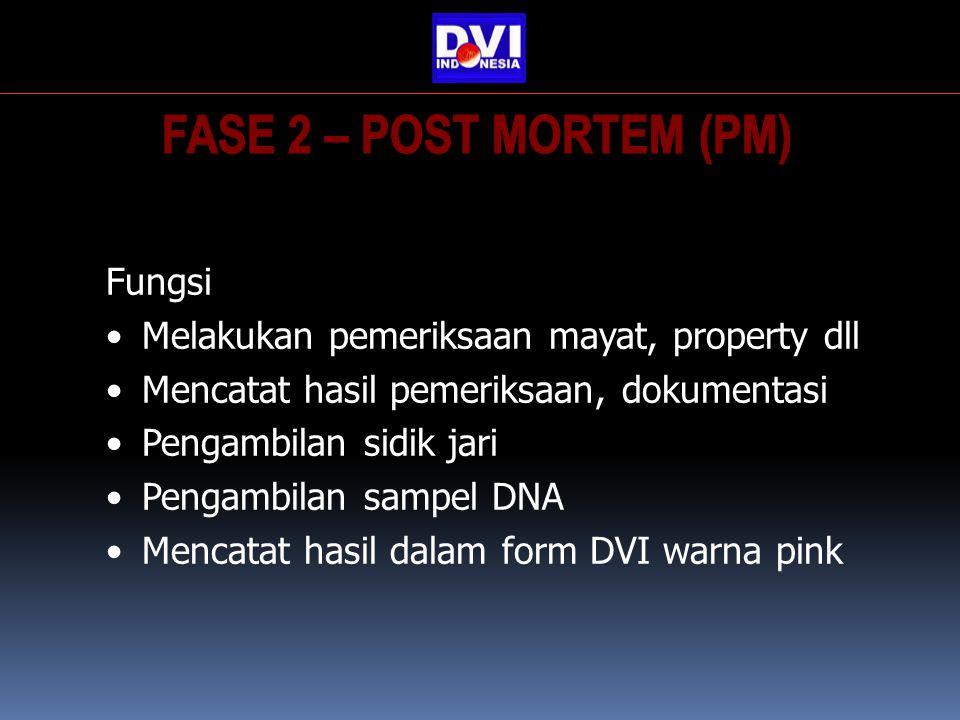 Fungsi Melakukan pemeriksaan mayat, property dll Mencatat hasil pemeriksaan, dokumentasi Pengambilan sidik jari Pengambilan sampel DNA Mencatat hasil dalam form DVI warna pink