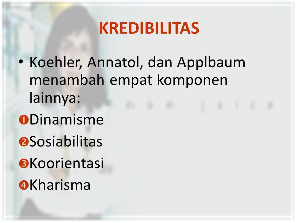 KREDIBILITAS Koehler, Annatol, dan Applbaum menambah empat komponen lainnya:  Dinamisme  Sosiabilitas  Koorientasi  Kharisma