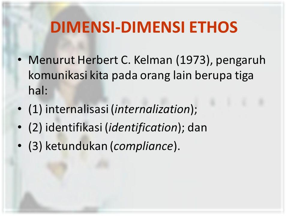 DIMENSI-DIMENSI ETHOS Menurut Herbert C. Kelman (1973), pengaruh komunikasi kita pada orang lain berupa tiga hal: (1) internalisasi (internalization);