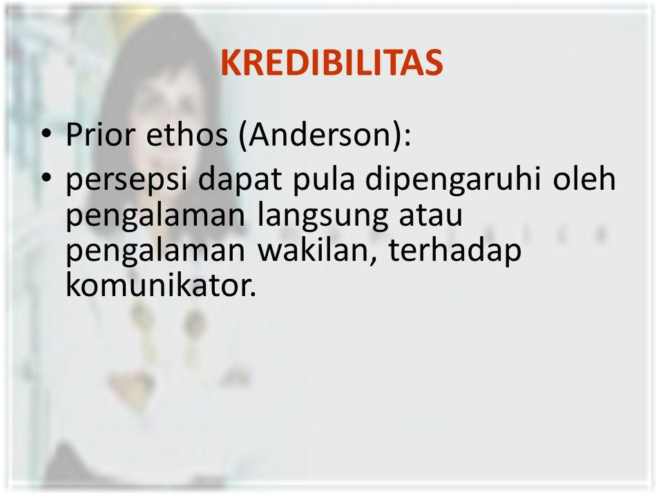 KREDIBILITAS Intrinsic ethos (Anderson): perubahan persepsi yang terjadi terhadap komunikator, yang dapat dibentuk karena topik yang dipilih, cara penyampaian, teknik-teknik pengembangan pokok bahasan, dan bahasa yang dipergunakan, serta organisasi pesan.