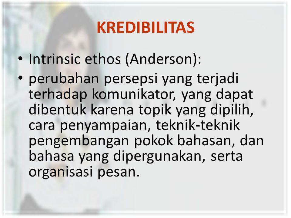 KREDIBILITAS Intrinsic ethos (Anderson): perubahan persepsi yang terjadi terhadap komunikator, yang dapat dibentuk karena topik yang dipilih, cara pen