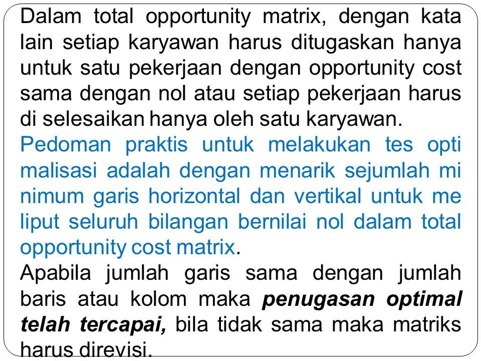 Dalam total opportunity matrix, dengan kata lain setiap karyawan harus ditugaskan hanya untuk satu pekerjaan dengan opportunity cost sama dengan nol atau setiap pekerjaan harus di selesaikan hanya oleh satu karyawan.