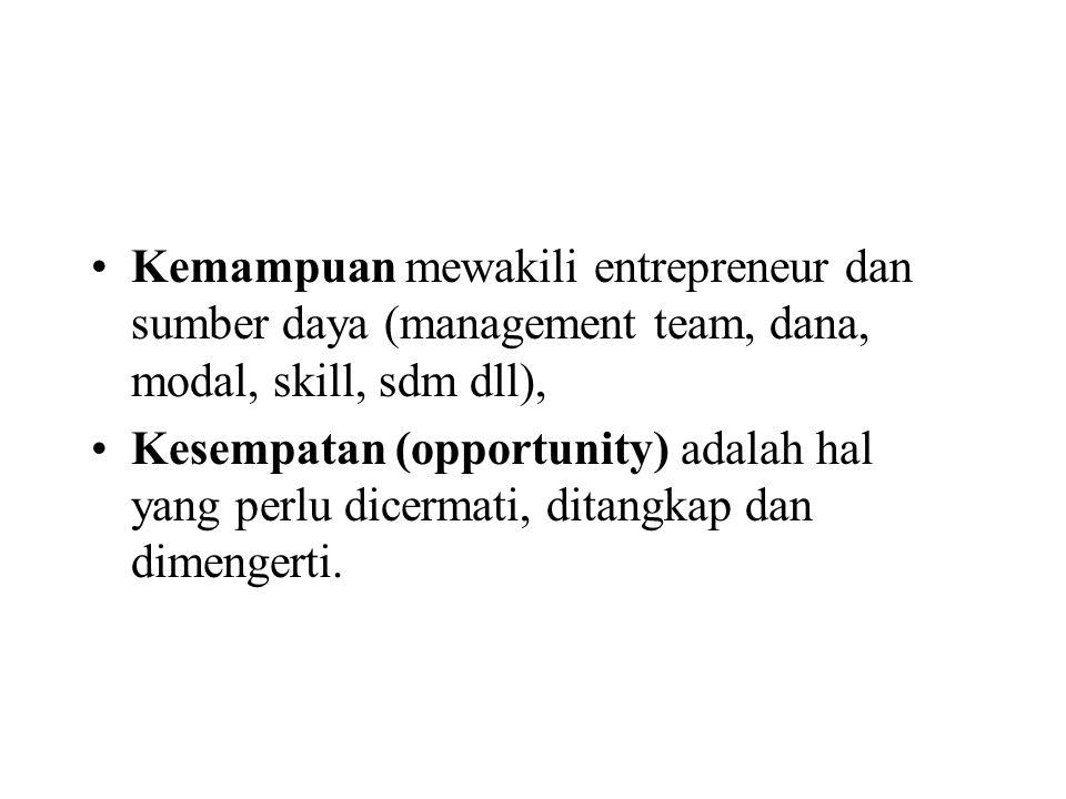 Kemampuan mewakili entrepreneur dan sumber daya (management team, dana, modal, skill, sdm dll), Kesempatan (opportunity) adalah hal yang perlu dicermati, ditangkap dan dimengerti.
