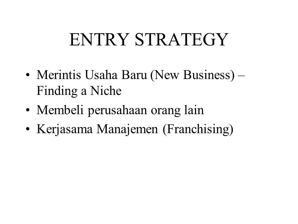ENTRY STRATEGY Merintis Usaha Baru (New Business) – Finding a Niche Membeli perusahaan orang lain Kerjasama Manajemen (Franchising)