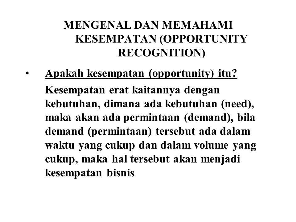 MENGENAL DAN MEMAHAMI KESEMPATAN (OPPORTUNITY RECOGNITION) Apakah kesempatan (opportunity) itu.