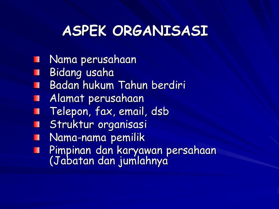 ASPEK ORGANISASI Nama perusahaan Bidang usaha Badan hukum Tahun berdiri Alamat perusahaan Telepon, fax, email, dsb Struktur organisasi Nama-nama pemilik Pimpinan dan karyawan persahaan (Jabatan dan jumlahnya