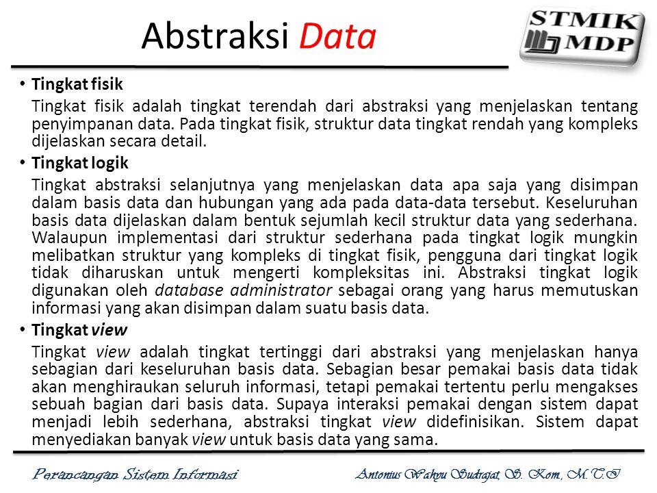 Perancangan Sistem Informasi Antonius Wahyu Sudrajat, S. Kom., M.T.I Abstraksi Data View Level