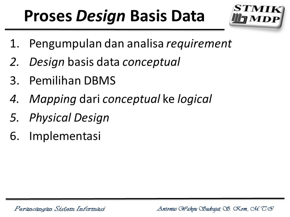 Perancangan Sistem Informasi Antonius Wahyu Sudrajat, S. Kom., M.T.I Proses Design Basis Data 1.Pengumpulan dan analisa requirement 2.Design basis dat