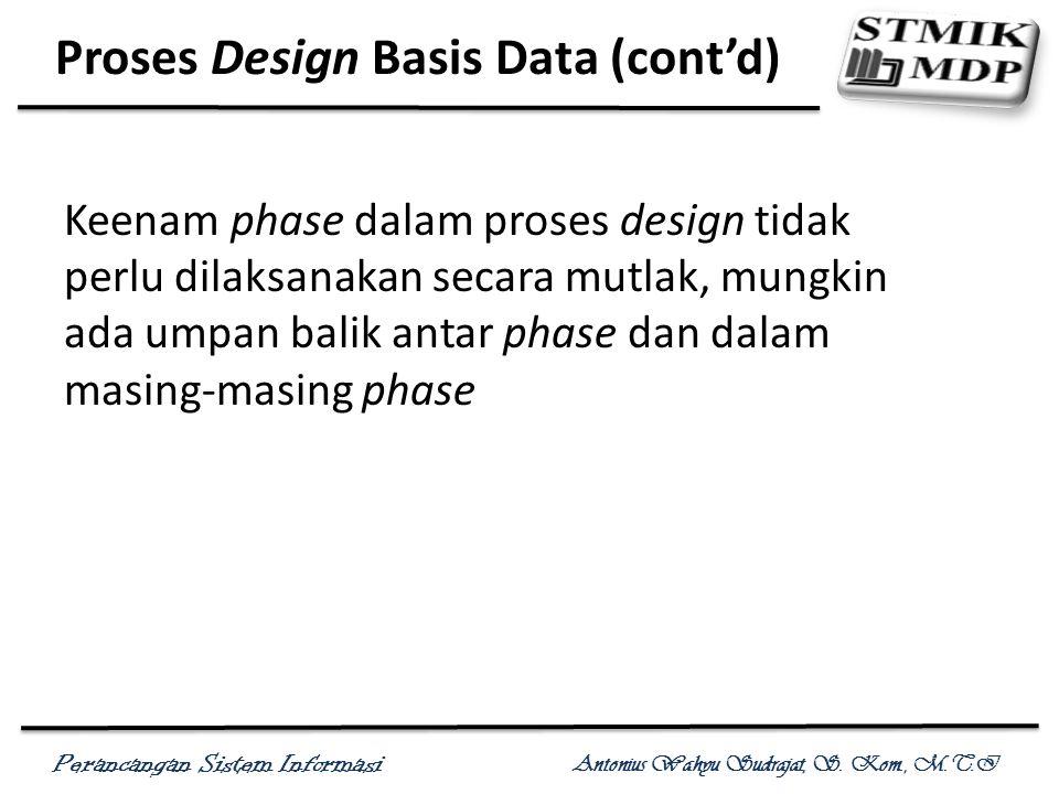 Perancangan Sistem Informasi Antonius Wahyu Sudrajat, S. Kom., M.T.I Proses Design Basis Data (cont'd) Keenam phase dalam proses design tidak perlu di