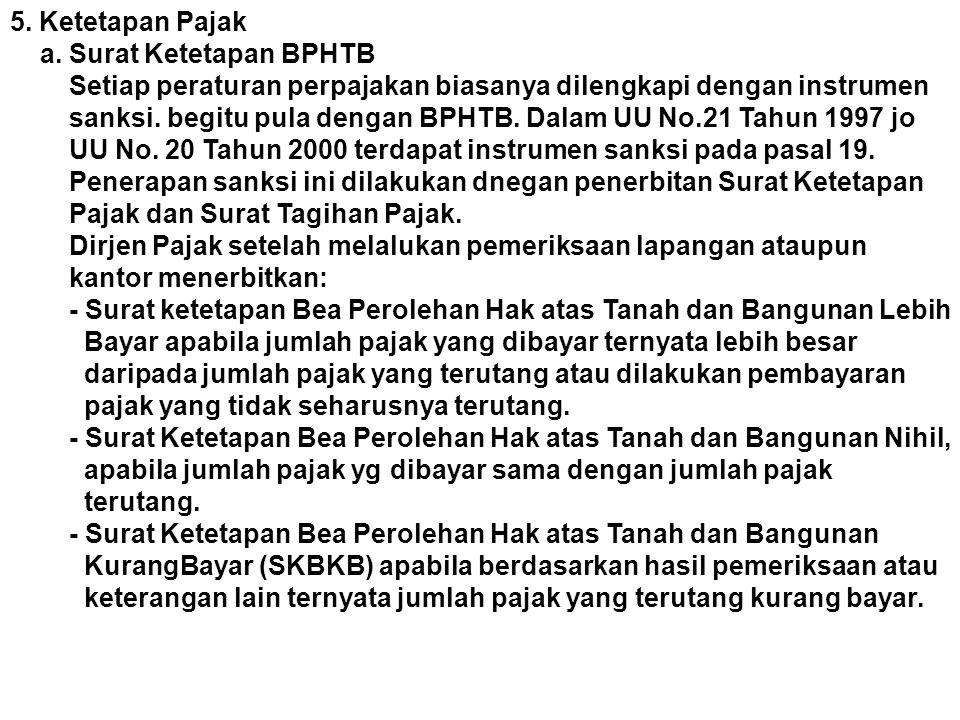 5. Ketetapan Pajak a. Surat Ketetapan BPHTB Setiap peraturan perpajakan biasanya dilengkapi dengan instrumen sanksi. begitu pula dengan BPHTB. Dalam U