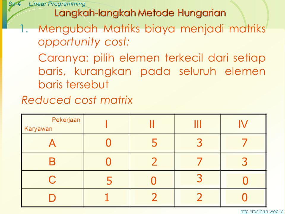 6s-3Linear Programming http://rosihan.web.id Masalah Minimisasi Pekerjaan Karyawan IIIIIIIV ARp 15Rp 20Rp 18Rp 22 B14162117 C25202320 D1718 16 Suatu p