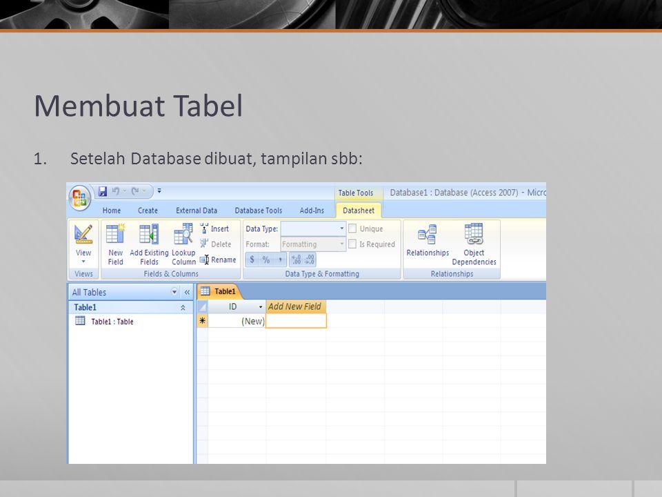 Membuat Tabel 1.Setelah Database dibuat, tampilan sbb: