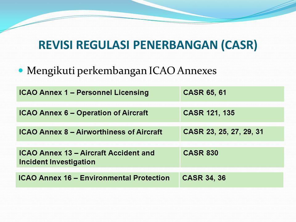 REVISI REGULASI PENERBANGAN (CASR) Mengikuti perkembangan ICAO Annexes ICAO Annex 1 – Personnel LicensingCASR 65, 61 ICAO Annex 6 – Operation of Aircr