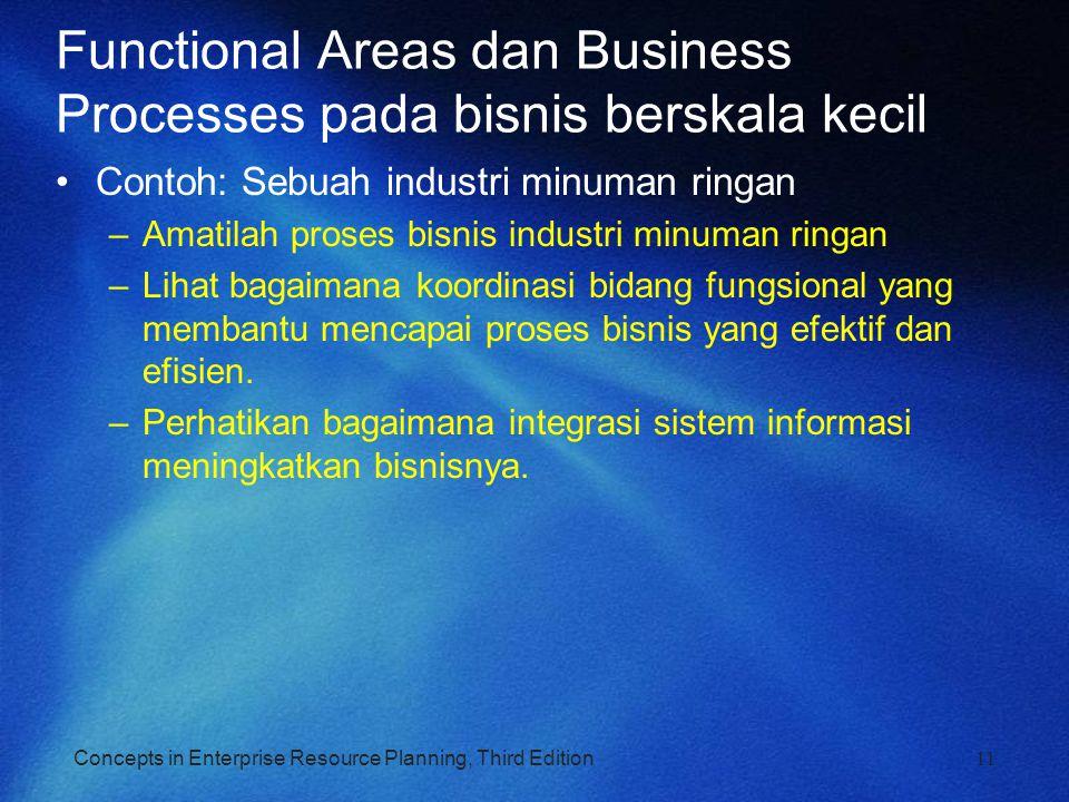 Concepts in Enterprise Resource Planning, Third Edition11 Functional Areas dan Business Processes pada bisnis berskala kecil Contoh: Sebuah industri m