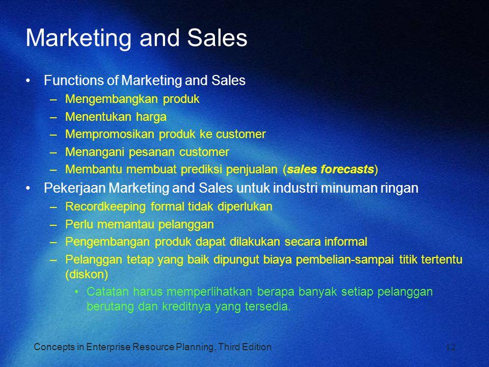 Concepts in Enterprise Resource Planning, Third Edition12 Marketing and Sales Functions of Marketing and Sales –Mengembangkan produk –Menentukan harga