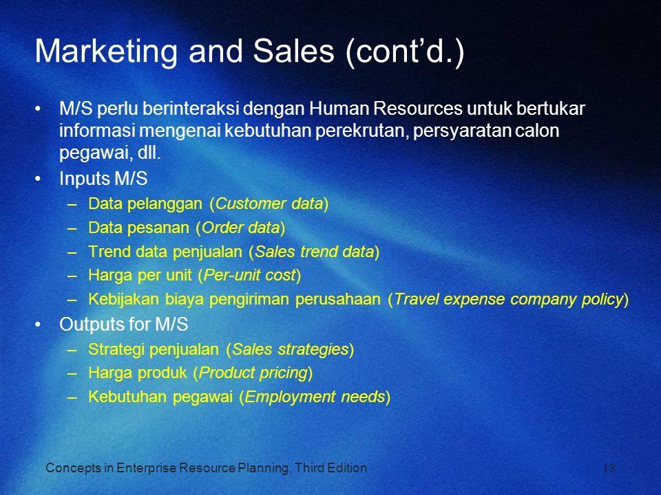 Concepts in Enterprise Resource Planning, Third Edition18 Marketing and Sales (cont'd.) M/S perlu berinteraksi dengan Human Resources untuk bertukar i