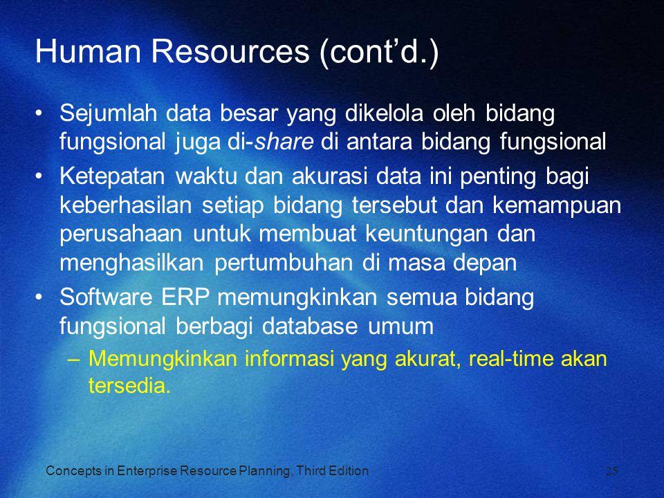 Concepts in Enterprise Resource Planning, Third Edition25 Human Resources (cont'd.) Sejumlah data besar yang dikelola oleh bidang fungsional juga di-s