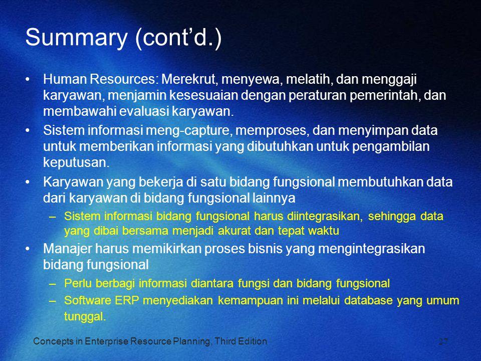 Concepts in Enterprise Resource Planning, Third Edition27 Summary (cont'd.) Human Resources: Merekrut, menyewa, melatih, dan menggaji karyawan, menjam