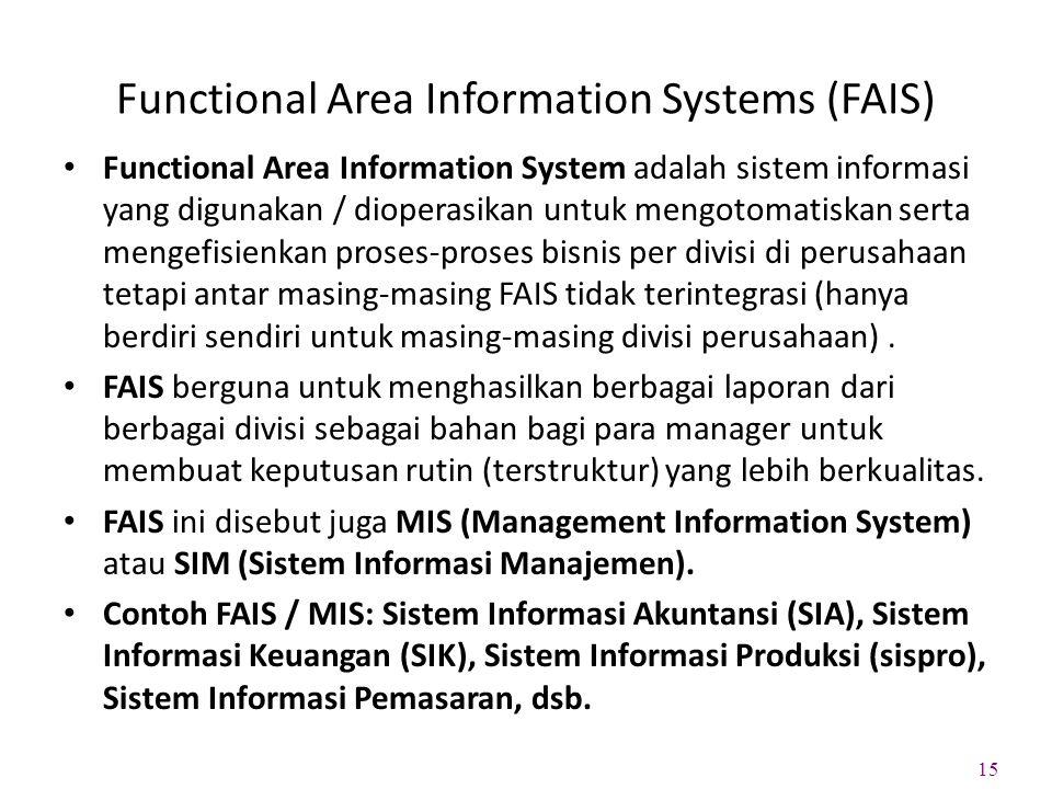 Functional Area Information Systems (FAIS) Functional Area Information System adalah sistem informasi yang digunakan / dioperasikan untuk mengotomatiskan serta mengefisienkan proses-proses bisnis per divisi di perusahaan tetapi antar masing-masing FAIS tidak terintegrasi (hanya berdiri sendiri untuk masing-masing divisi perusahaan).