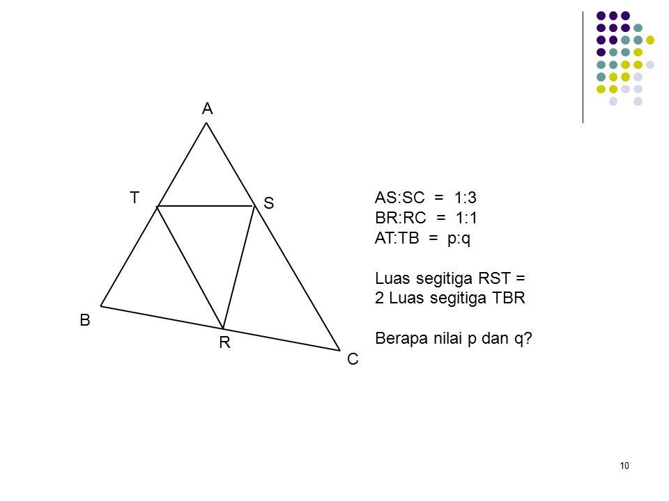 10 A B C R S TAS:SC = 1:3 BR:RC = 1:1 AT:TB = p:q Luas segitiga RST = 2 Luas segitiga TBR Berapa nilai p dan q