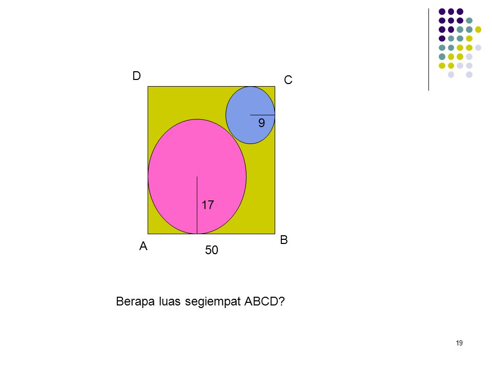 19 Berapa luas segiempat ABCD 50 17 9 A B C D